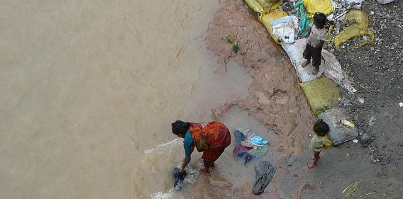 Polluted river in Dehradun used for washing